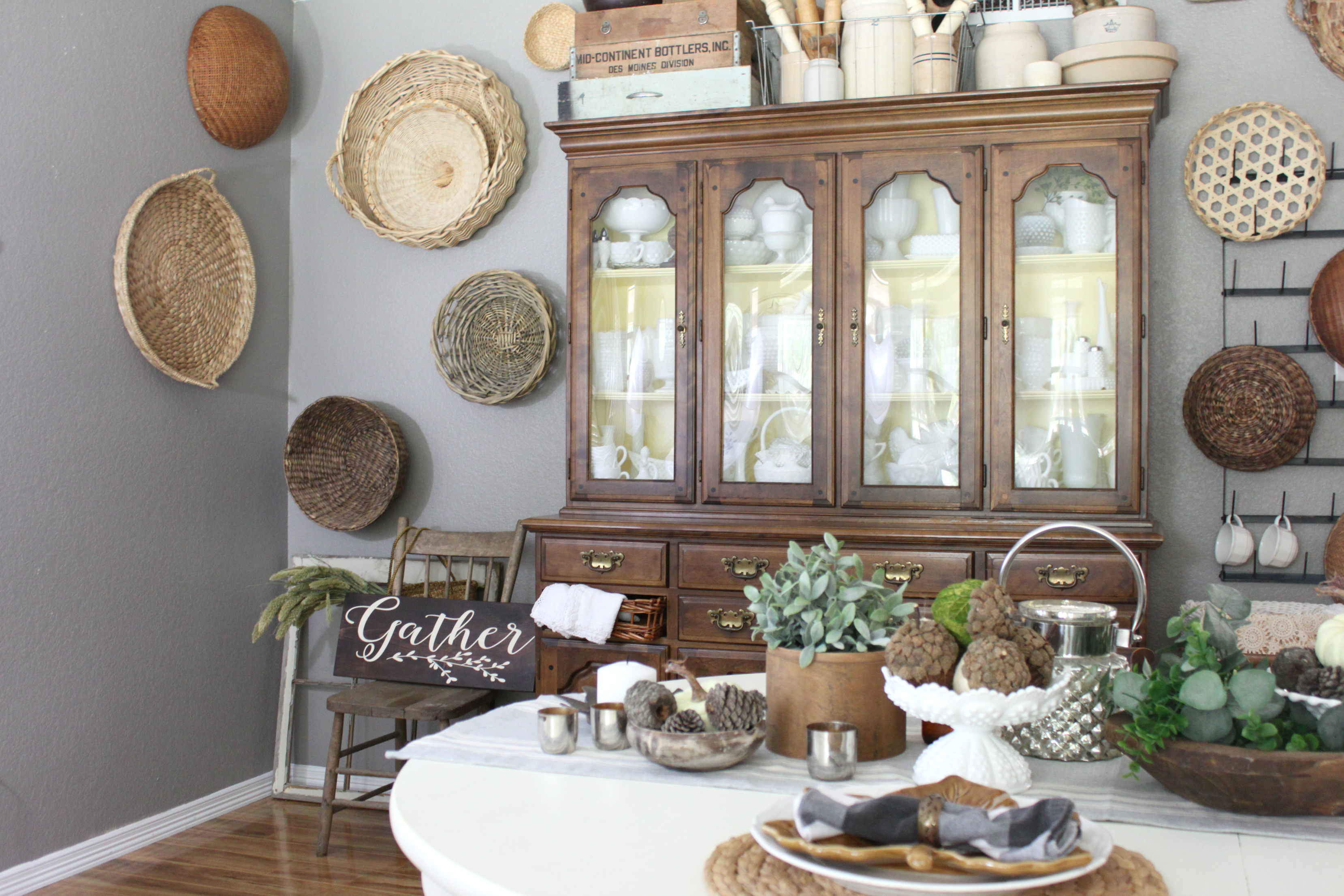 fall dining room china cabinet milkglass basket wall My Fall Dining Room An