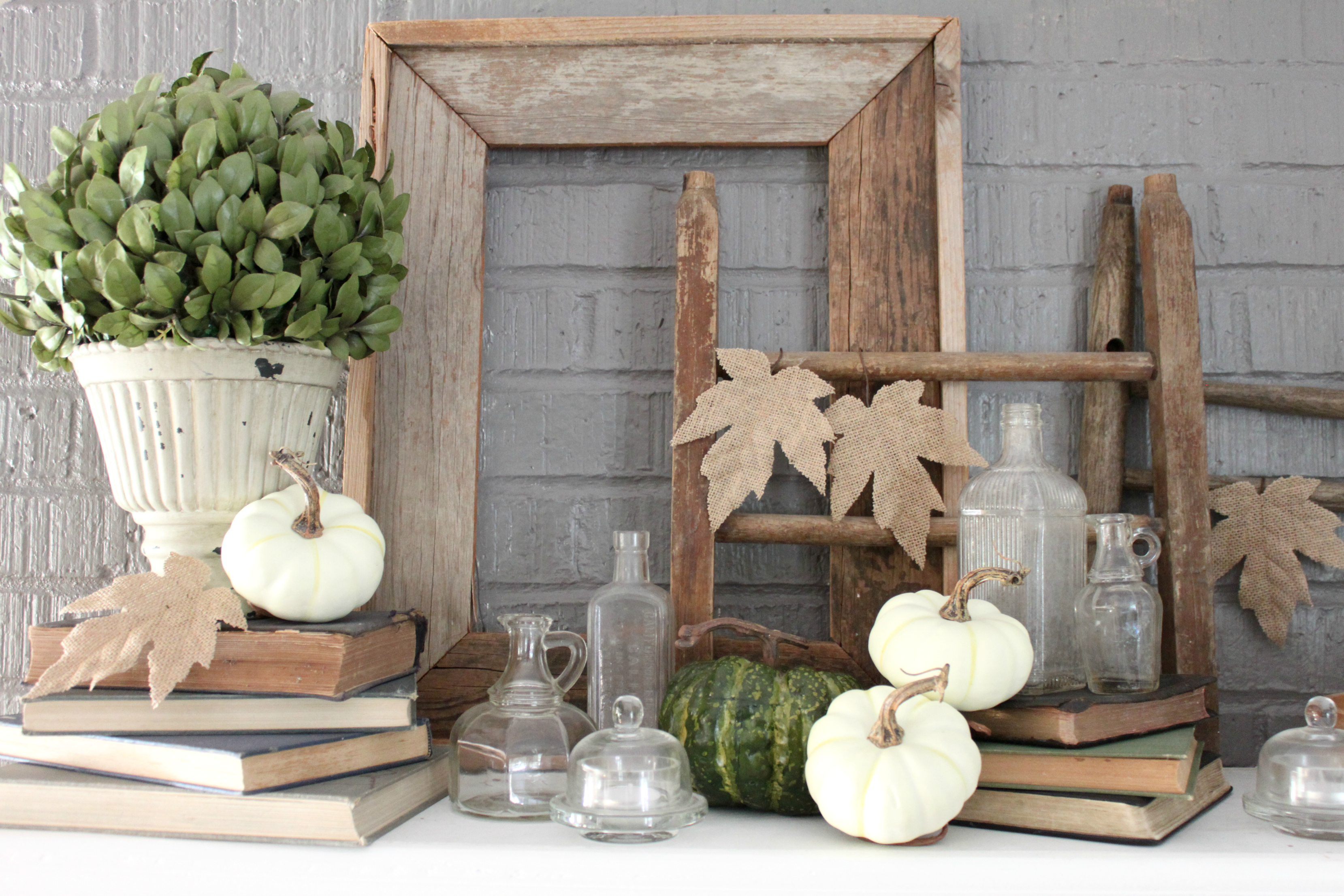 Fall Dining Room Mantle Vignette Pumpkins