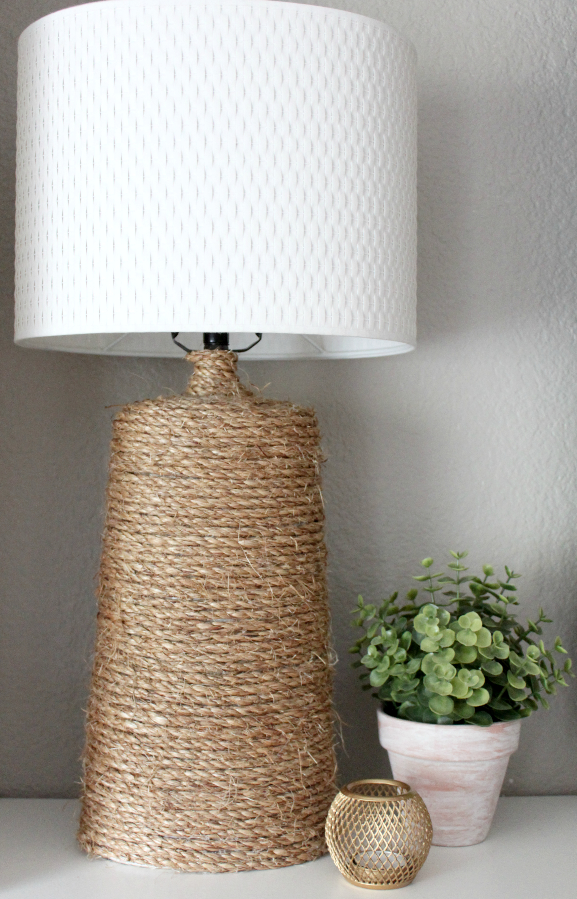 Elegant Lamp Repurpose Rope Gluegun