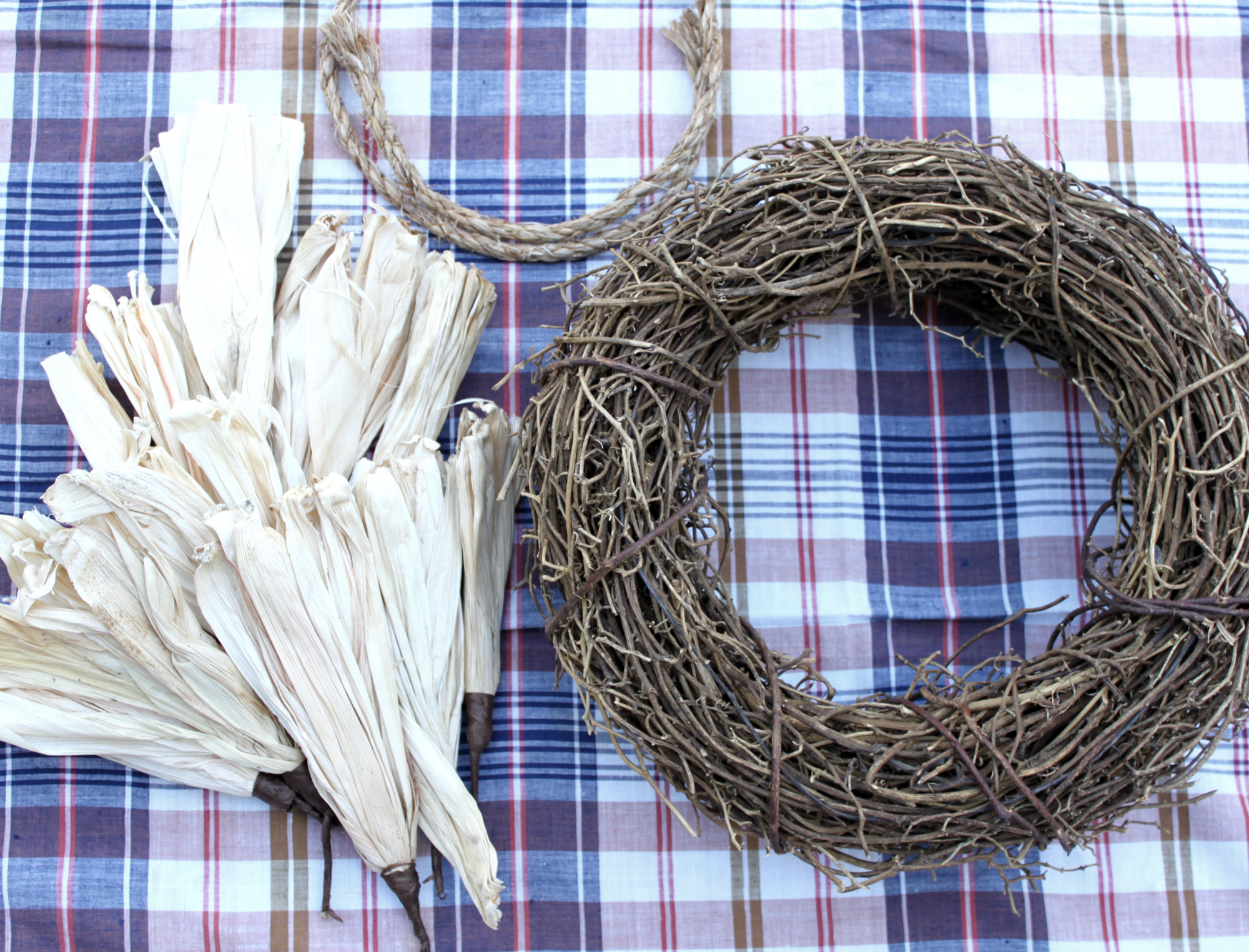 Easy DIY Rustic Cornhusk Wreath by An Inspired Nest