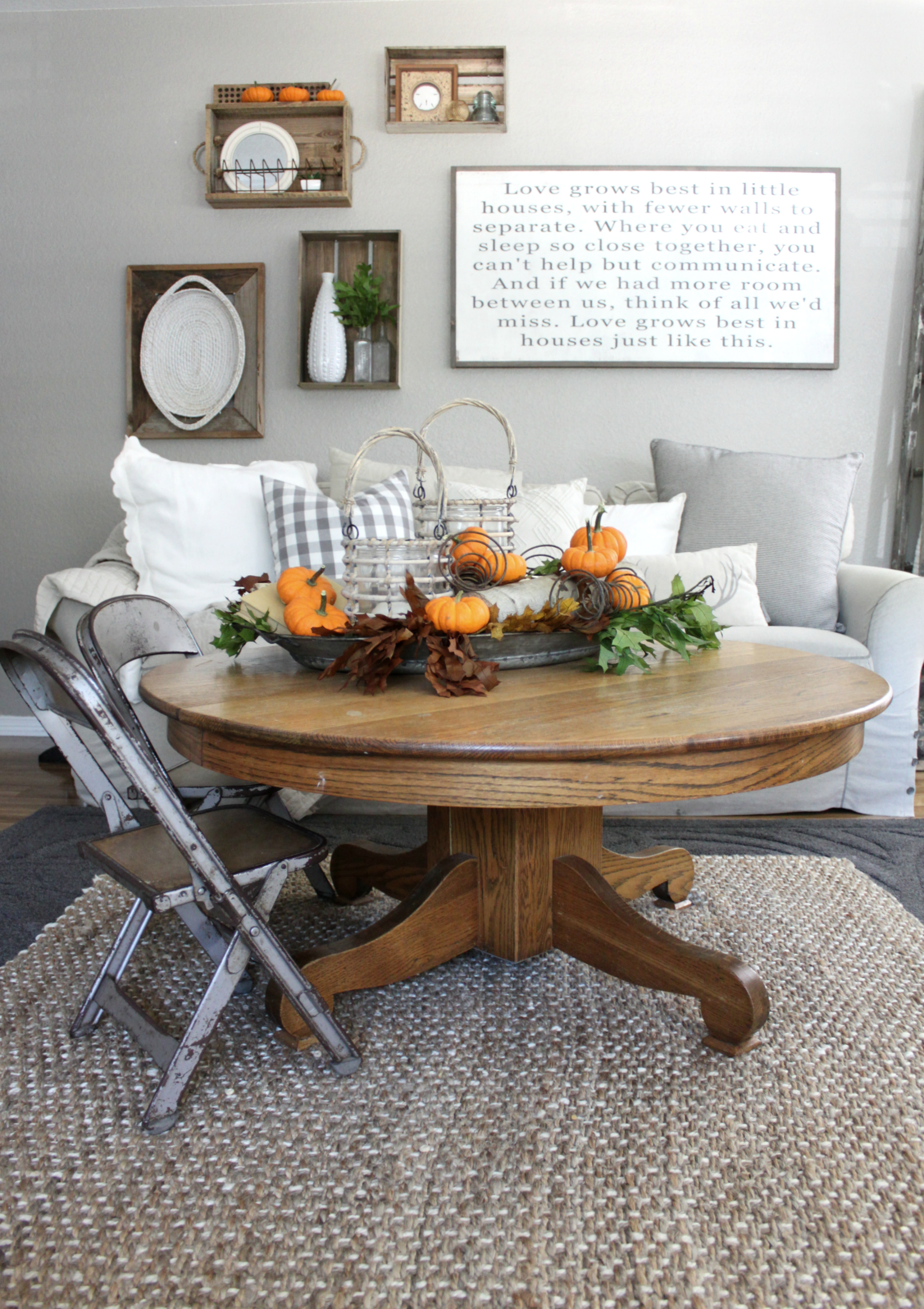 My fall family room an inspired nest for Coffee table centerpiece
