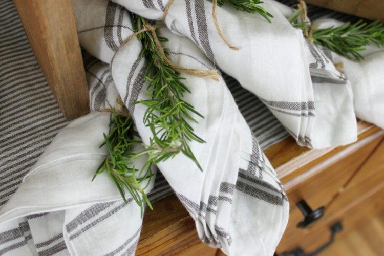 Simple Entertaining Tip: Napkins Tied with Rosemary Sprigs