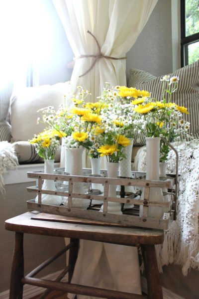 Milk Glass Vases + Milk Bottle Holder Floral Arrangement