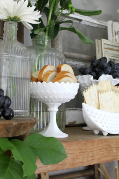 Simple Entertaining Tip: Serving Food Using Vintage Milk Glass